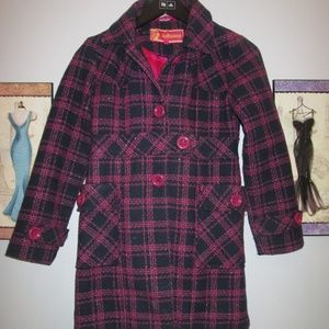 Dollhouse Girl's Plaid Trench Coat 10/12 Navy/Pink